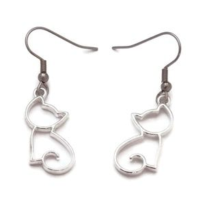 Petite Cat Outline Earrings Stainless Steel Small